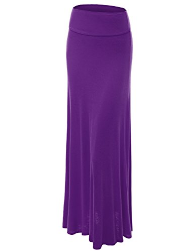 (Made By Johnny WB670 Womens Fold-Over Maxi Skirt XXL Barney)