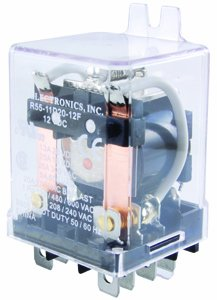 NTE Electronics R55-11A20-240F Series R55 AC General Purpose Relay, DPDT Contact Arrangement, 0.250' Quick Connect Terminal, 25 Amp, 2.75VA Power, 240VAC 0.250 Quick Connect Terminal Inc.