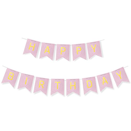 Birthday Banner Card (Happy Birthday Banner Flags - Elegant Pink and Gold Bunting Garland Birthday Decorations Sweet 16 - 21st - 30th - 40th - 50th - 70th Birthday Party Supplies)