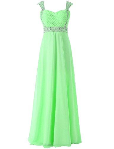 JAEDEN Manga de casquillo Gasa Vestidos de dama de honor Largo Vestido de fiesta Vestido de noche Verde