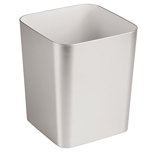 - InterDesign Square Basket Trash Bathroom, Kitchen, Office Nickel Casilla Waste Can - Brushed, Frost
