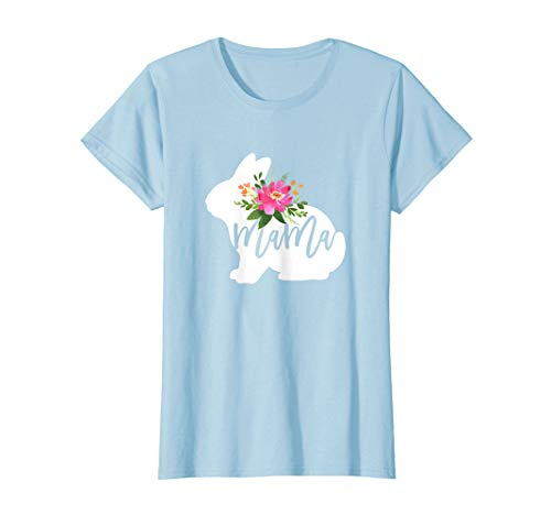 Womens Mama Bunny Watercolor Floral T-Shirt Easter Gift for Mom ()