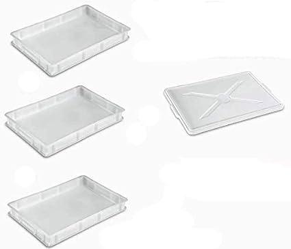 Giganplast Cassetta Portaimpasto Pane Pizza MOD.Service Cm.30X40X10 Bianca /& Basics in Acciaio Inox Raschietto//Tagliaimpasto Multiuso