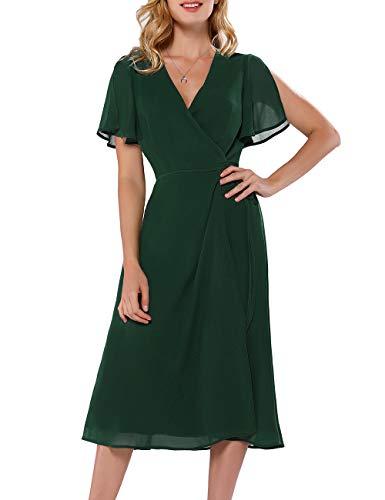 Azalosie Women Wrap Midi Dress Short Sleeve V Neck Tie Waist Flowy Slit Summer Beach Party Wedding Maxi Dress Green