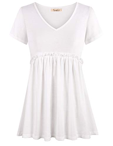 (Cyanstyle Women's Summer V Neck Short Sleeve Tunic Empire Waist Peplum Blouse Top White)