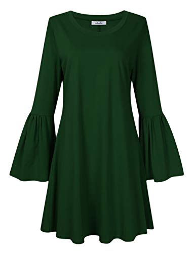 Latest MissQee Women Plus Size Flare Casual Loose Bell Sleeve Shirt Dress Dark Green 3XL Plus Size Dresses 12