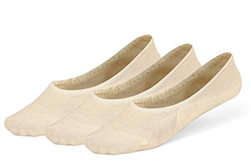 (LAISOR Cotton No Show Sock Women's invisible Non Slip Flat Boat Liner Socks (D 3 Pairs beige))