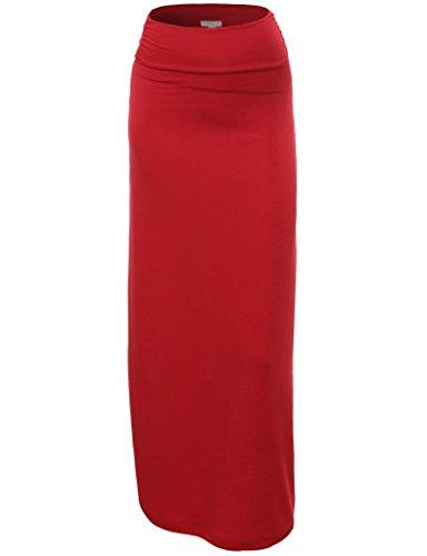 FPT Womens Basic Cinched Waist Maxi Skirt BURGUNDY 3X-LARGE