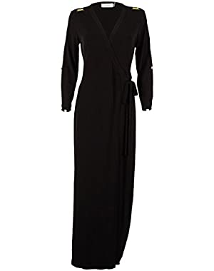 Women's Wrap Front Maxi Jersey Dress (4, Black)