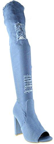Camry 2 Womens Blue Distressed Ripped Denim Chunky Heel Peep Toe Thigh High Boots Blue 6