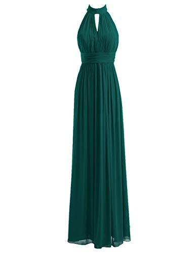 Bridesmaid Dresses Long Prom Dress Chiffon Halter Evening Gowns Pleat Wedding Party Dress Peacock XL