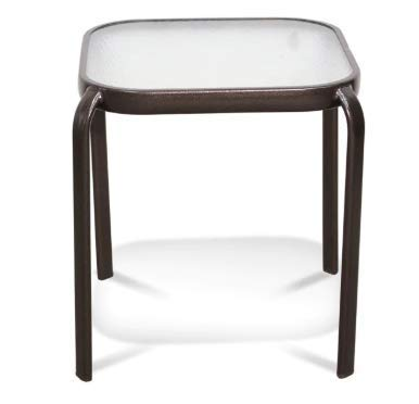 Outdoor End Table Never Rust Aluminum and Glass (2 Pack, Bronze)