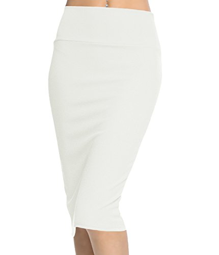 Urban CoCo Women's High Waist Stretch Bodycon Pencil Skirt (S, White-Long) from Urban CoCo