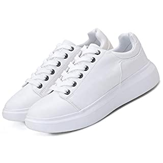 HONGHAIER Non Slip Casual Shoes Fashion Platform Leather Sneakers for Women AllWhite 9