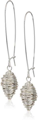 ho Women's Silver Wire Wrapped Long Drop Earrings, Silver, One Size ()