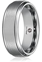 Men's Tungsten 6mm Polished Beveled Edge Matte Brushed Finish Center Ring