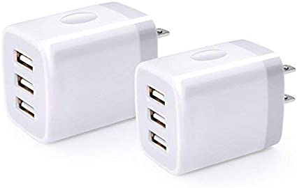 USB Charger Cube,Sicodo 3-Port Travel Smartphone Charger 2 Pack 3.1Am Charging Block USB Adapter Power Plug Charging Station Box Compatible with iPhone11//X//8//7 iPad,Samsung,and Other USB Plug Devices