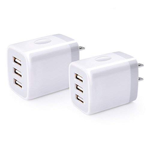 3-Port USB Wall Charger, NINIBER 2-Pack/3.1A Multiple USB Charging Block Power Adapter Multi Port Quick Charger Brick Station Cube Compatible for Phone XR/XS/X/8/7/6S Plus, Samsung, LG G7, Moto, HTC