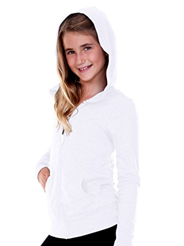 Kavio! Big Girls 7-16 Jersey Long Sleeve Zip Up Hoodie White - Zip Hoody Sweatshirts Girls