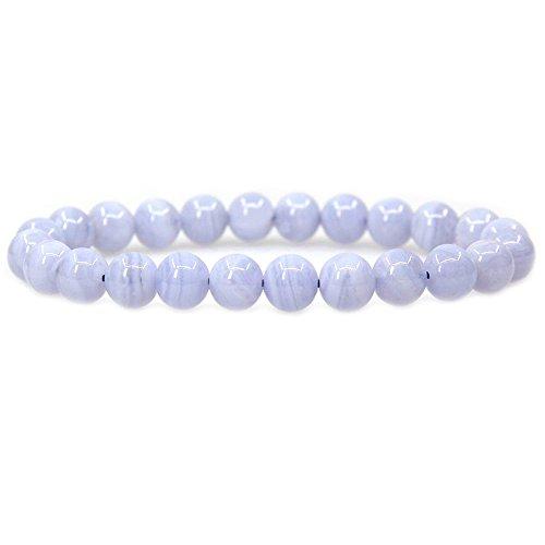 Lace Agate Gemstone 8mm Round Beads Stretch Bracelet 7