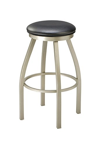 Regal Anodized Nickel Steel Backless Stool and Upholstered Seat with Rim Swivel, 26