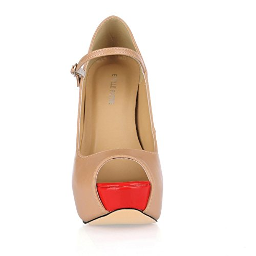 Heel Sole Toe Stiletto Heels Peep PU 4U Spring Apricot 14CM Best Autumn Shoes High Premium Women's Rubber wOqzPg