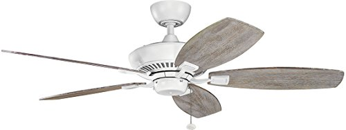 52' Canfield Fan - Kichler 300117MWH 52 Inch Canfield Ceiling Fan, Pull Chain, Matte White Finish with Matte White/Weathered White Walnut Blades