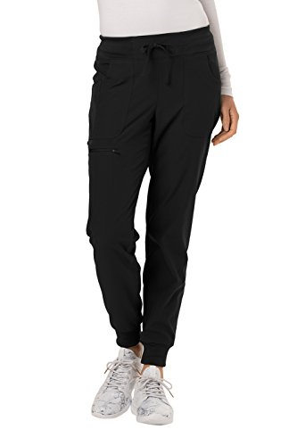 HeartSoul Low Rise Tapered Leg Jogger Scrub Pant, M, Black