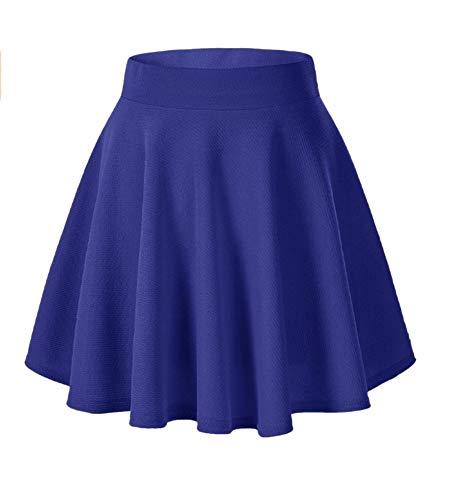 Afibi Girls Casual Mini Stretch Waist Flared Plain Pleated Skater Skirt (Small, Blue)