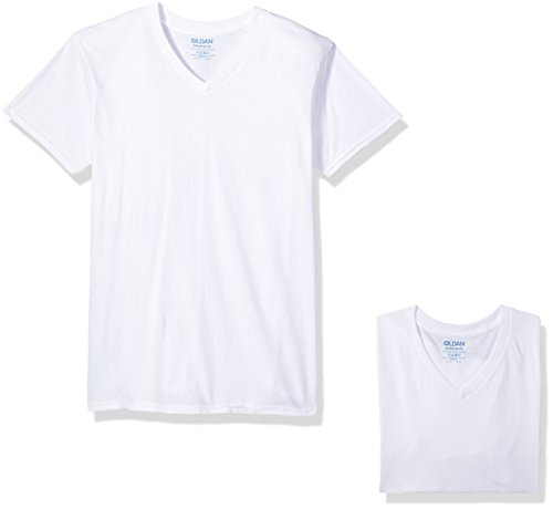 White V-neck Tee (Gildan Men's V-Neck T-Shirts, White, Medium 6 Pack)