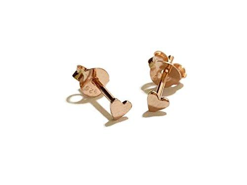 GreenCatJewelry 18 gauge (1mm) 925 Sterling Silver Post Earring Stud Cartilage Women Men Teen Girl Minimal Ear Stud Helix Simple Plain Small Heart 3mm (Rose Gold Plated)