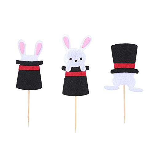 BESTOYARD Bunny Cake Toppers Cupcake Picks Easter Rabbit Cake Decorations for Birthday Easter Day Party Favors - Magicians Rabbit