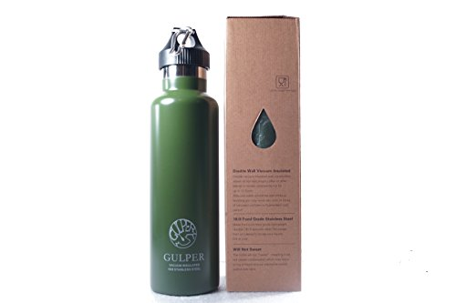 The Gulper Double wall Insulated Stainless Steel Water Bottle, Standard Mouth, 24 Oz - 8-10 hours Hot 20-24 hours cold (Olive Green)