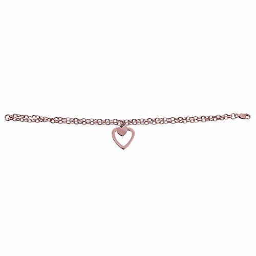 Sterling Silver Rose Double Strand Open Heart - Heart Open Bracelet Strand