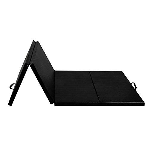 Exercise Mat 4'x8'x2 Gymnastics Folding Panel Thick Gym Fitness Black with Ebook