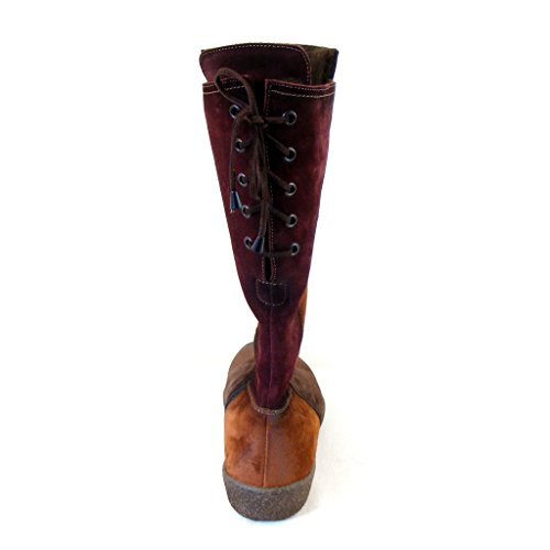 Theresia M. Damen Schuhe Stiefel Velourleder cacao cognac bordo 8918 warm lang