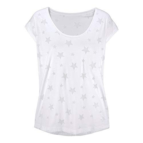 Jmitha Women's Graphic Tees,Sleeveless Scoop Neck Casual Summer Tops,Star Printed Cute T Shirts (Large, White)
