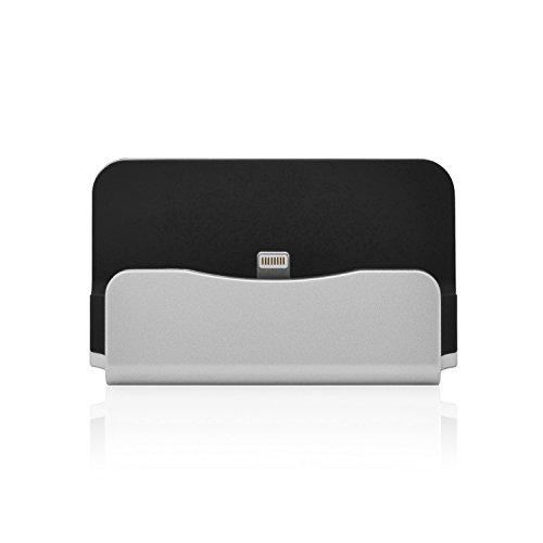 Original iProtect® Premium Dockingstation Ladestation mit integrierten USB Datenkabel Ladekabel und Netzteil Adapter für Apple iPhone 5 5s 5c 6 6Plus 6s, iPod Touch 5G 6, iPod Nano 7G in silber