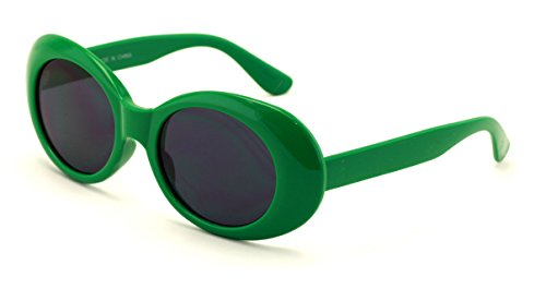 V.W.E. Vintage Sunglasses UV400 Bold Retro Oval Mod Thick Frame Sunglasses Clout Goggles with Dark Round Lens - Glasses Green