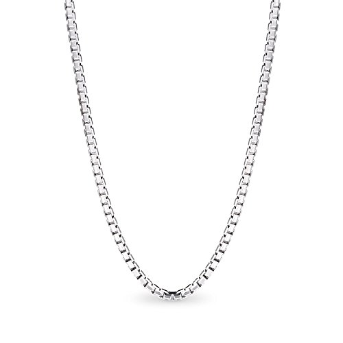 14K White Gold Box Chain Necklace Gold Over Semi-Precious Metals, Pendant Necklace Made Thin For Charms, Strong, Comes in Box GIFT - In When Is Sale Friday Black Usa