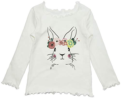 (ContiKids Long Sleeve Ruffle Rabbit Graphic Top Tee Shirts 9 White)