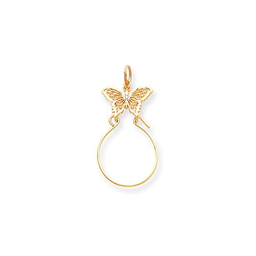 Gold Butterfly Charm Holder (14k Gold Butterfly Holder Charm Pendant (1.57 in x 0.79 in))