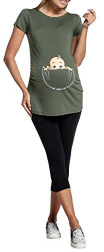 Happy Mama. Para Mujer Camiseta premamá T-Shirt estampado bebé en bolsillo. 501p Caqui