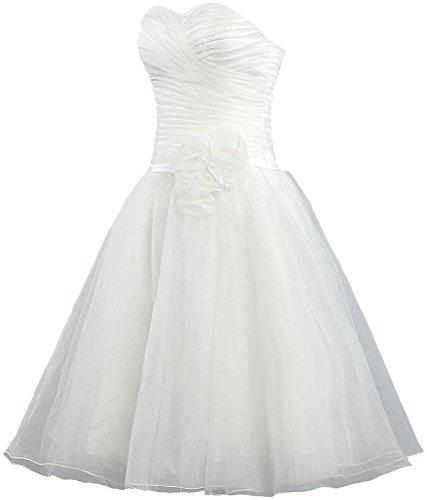 Women s Organza Wedding Bride Dresses Strapless Line A Short ANTS White 4d5wqxTd