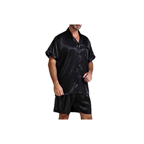 Silk Satin Men Pajamas Sets Sleepwear Suit Soft Homewear Tops Shorts Two Piece Men Pajama,Black,L