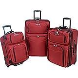 El Dorado 3 Piece Rolling Luggage Set Color: Red
