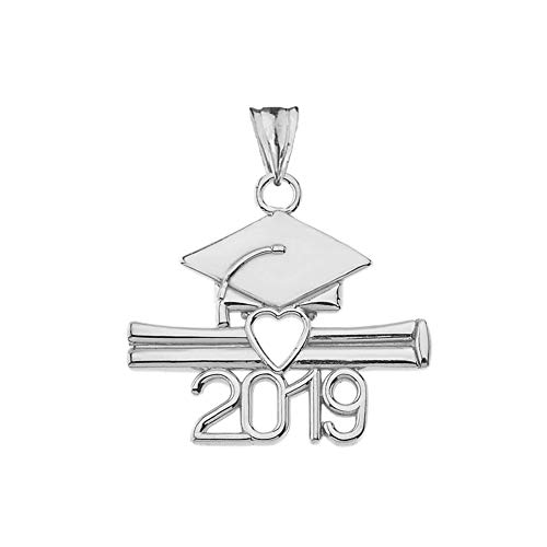 Exquisite Sterling Silver Class of 2019 Open Heart Diploma and Cap Pendant