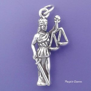 925 Sterling Silver 3-D Lady Justice Charm Scales Lawyer Law Pendant Jewelry Making Supply, Pendant, Charms, Bracelet, DIY Crafting by Wholesale Charms ()