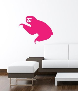 Sloth Wall Art Decal 16&Quot;X13&Quot; Pink - Ilovedecals