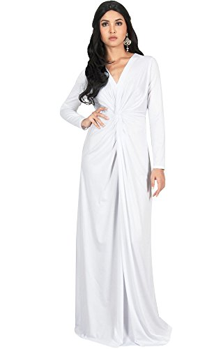 KOH KOH Petite Womens Plus Size Womens Long Sleeve Sleeves V-Neck Flowy Cocktail Formal Fall Winter Evening Abaya Muslim Gown Gowns Maxi Dress Dresses, White XS 2-4